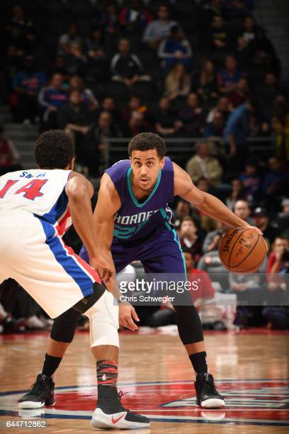 Brian Roberts of the Charlotte Hornets handles the ball against the Detroit Pistons during the game on February 23 2017 at The Palace of Auburn Hills...