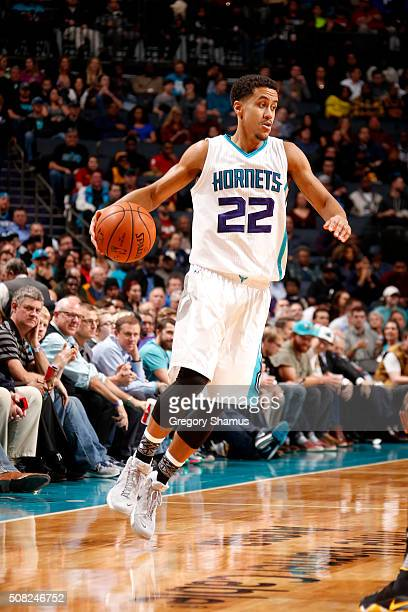 Brian Roberts of the Charlotte Hornets handles the ball during the game against the Cleveland Cavaliers on February 3 2016 at Time Warner Cable Arena...