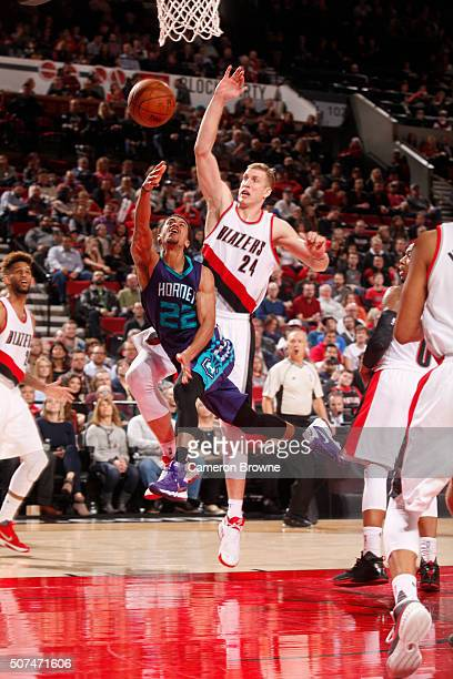 Brian Roberts of the Charlotte Hornets hooks the shot against the Portland Trail Blazers during the game on January 29 2016 at Moda Center in...