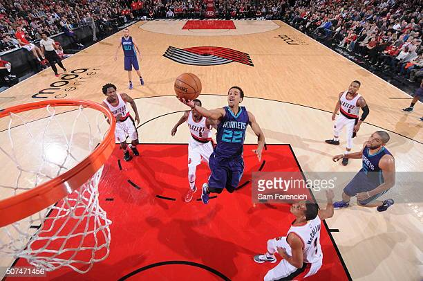 Brian Roberts of the Charlotte Hornets shoots against the Portland Trail Blazers during the game on January 29 2016 at Moda Center in Portland...