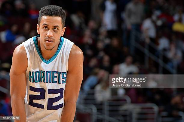 Brian Roberts of the Charlotte Hornets stands on the court during a game against the Philadelphia 76ers at Wells Fargo Center on February 7 2015 in...