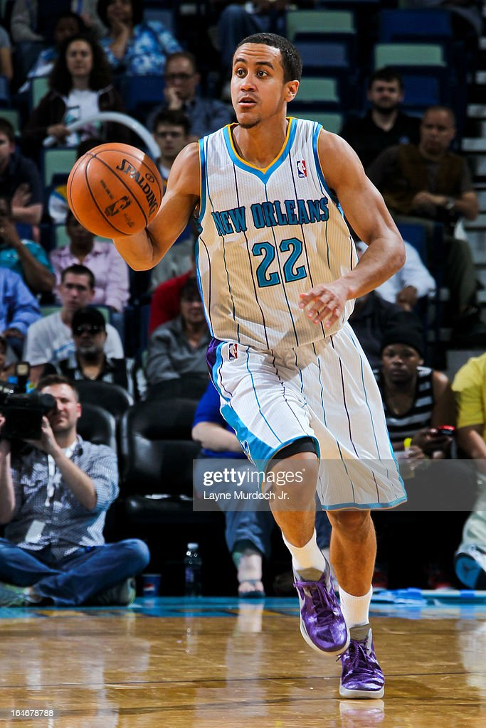 Brian Roberts #22 of the New Orleans Hornets advances the ball against the Golden State Warriors on March 18, 2013 at the New Orleans Arena in New Orleans, Louisiana.