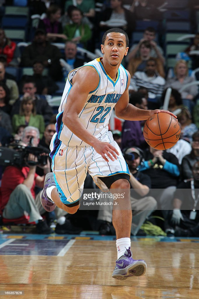 Brian Roberts #22 of the New Orleans Hornets brings the ball up court against the Denver Nuggets on March 25, 2013 at the New Orleans Arena in New Orleans, Louisiana.