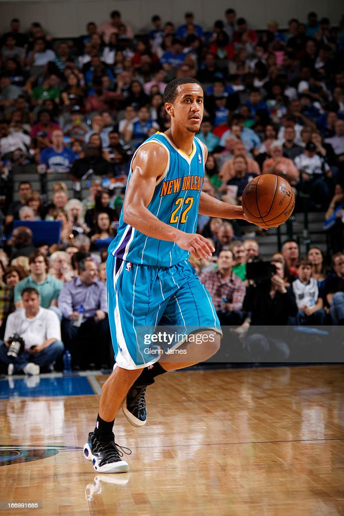 Brian Roberts #22 of the New Orleans Hornets brings the ball up court against the Dallas Mavericks on April 17, 2013 at the American Airlines Center in Dallas, Texas.