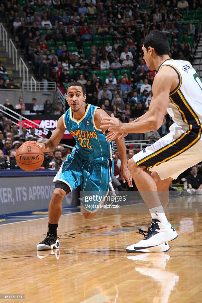 Brian Roberts #22 of the New Orleans Hornets drives to the basket against the Utah Jazz at Energy Solutions Arena on January 30, 2013 in Salt Lake City, Utah.