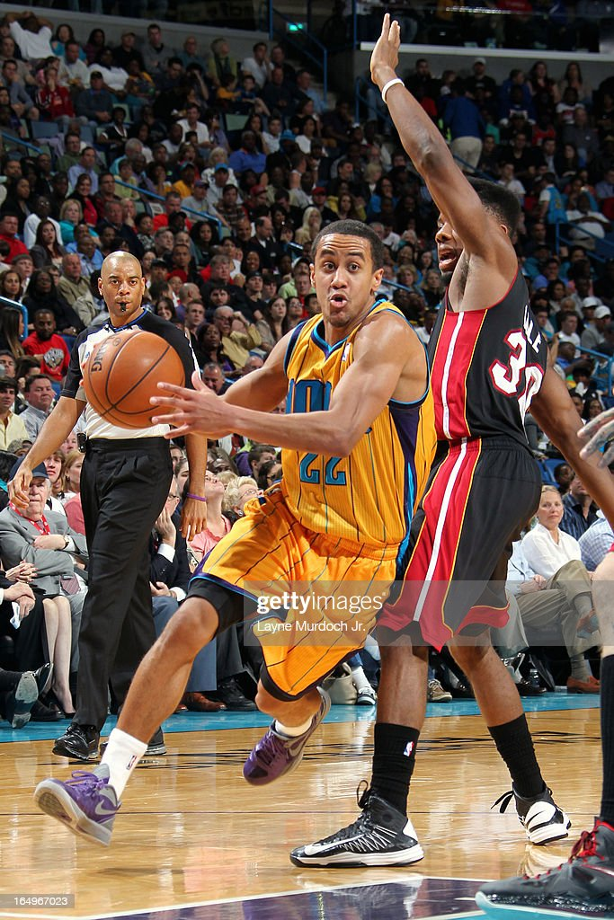 Brian Roberts #22 of the New Orleans Hornets drives to the basket against the Miami Heat on March 29, 2013 at the New Orleans Arena in New Orleans, Louisiana.