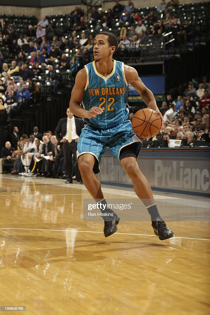 Brian Roberts #22 of the New Orleans Hornets drives to the hoop vs the Indiana Pacers on November 21, 2012 at Bankers Life Fieldhouse in Indianapolis, Indiana.