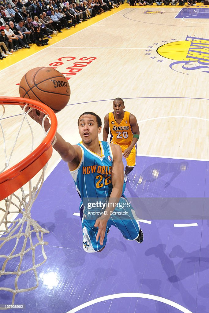 Brian Roberts #22 of the New Orleans Hornets goes up for the layup against the Los Angeles Lakers at Staples Center on April 9, 2013 in Los Angeles, California.