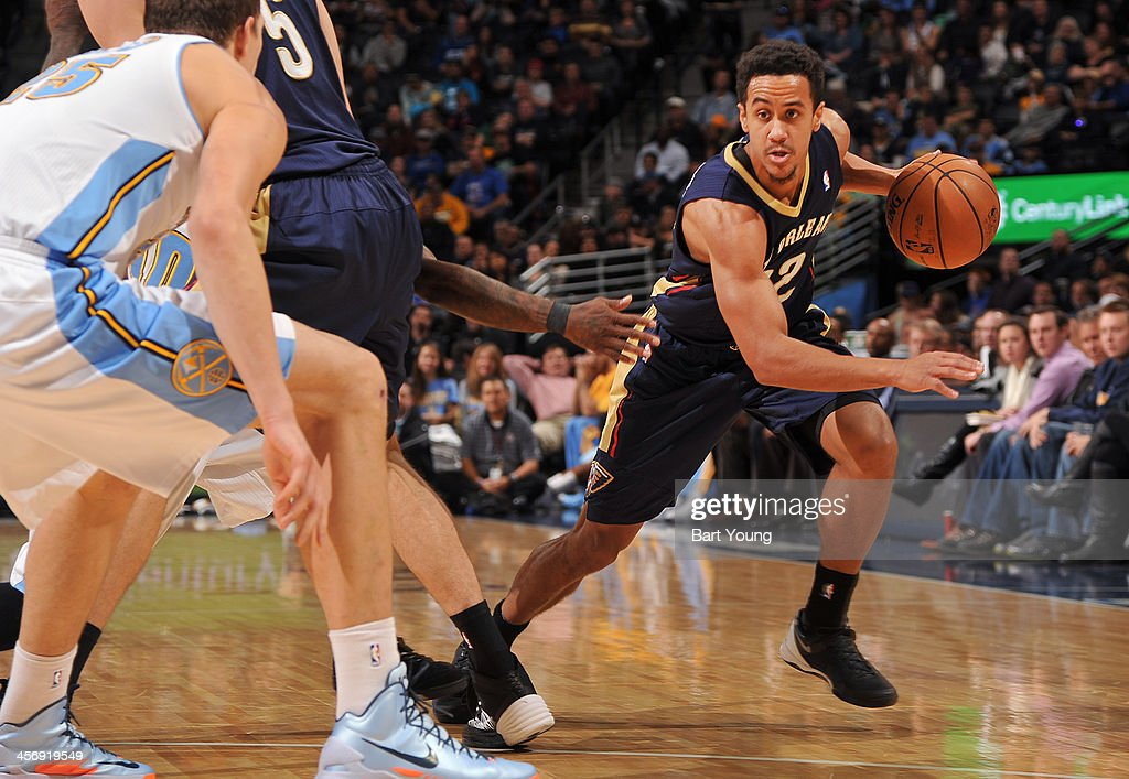Brian Roberts #22 of the New Orleans Pelicans dribbles to the basket against the Denver Nuggets on December 15, 2013 at the Pepsi Center in Denver, Colorado.