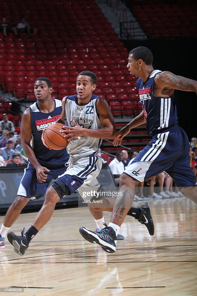 Brian Roberts #22 of the New Orleans Pelicans drives versus the Washington Wizards during NBA Summer League on July 19, 2013 at the Thomas and Mack Center Center in Las Vegas, Nevada.
