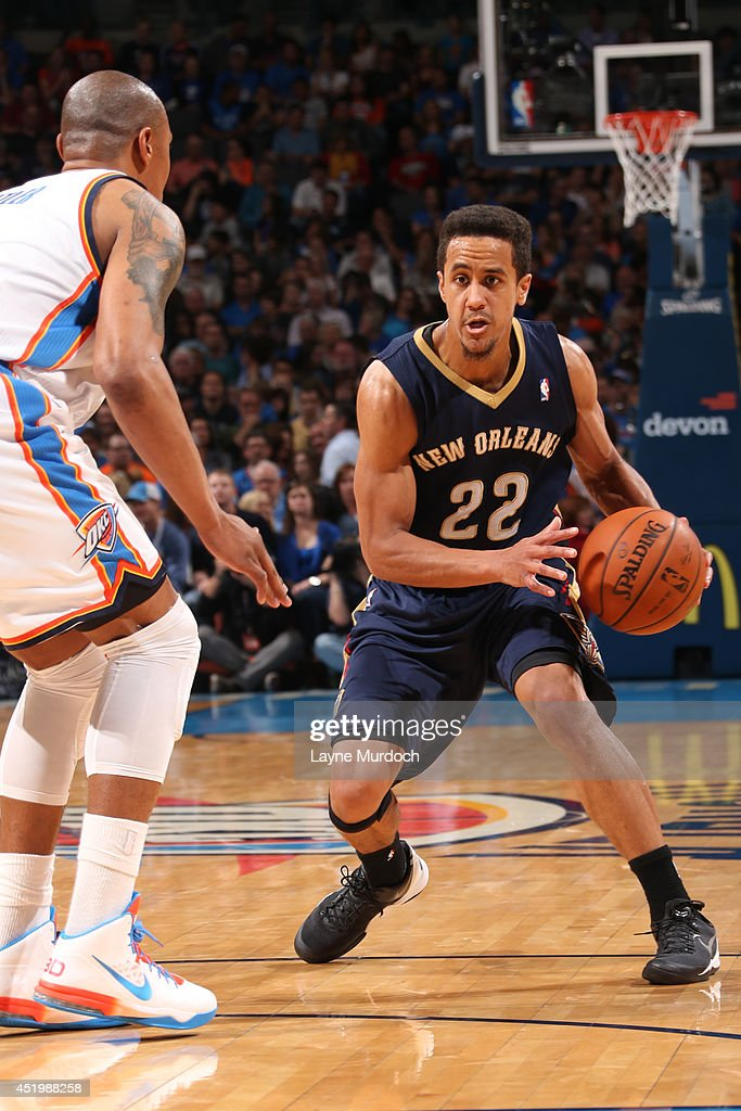 Brian Roberts #22 of the New Orleans Pelicans handles the ball against the Oklahoma City Thunder on April 11, 2014 at the Chesapeake Energy Arena in Oklahoma City, Oklahoma.
