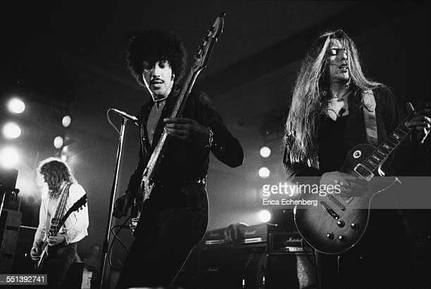 Brian Robertson Phil Lynott and Scott Gorham of Thin Lizzy perform on stage at Colston Hall Bristol United Kingdom October 22 1976
