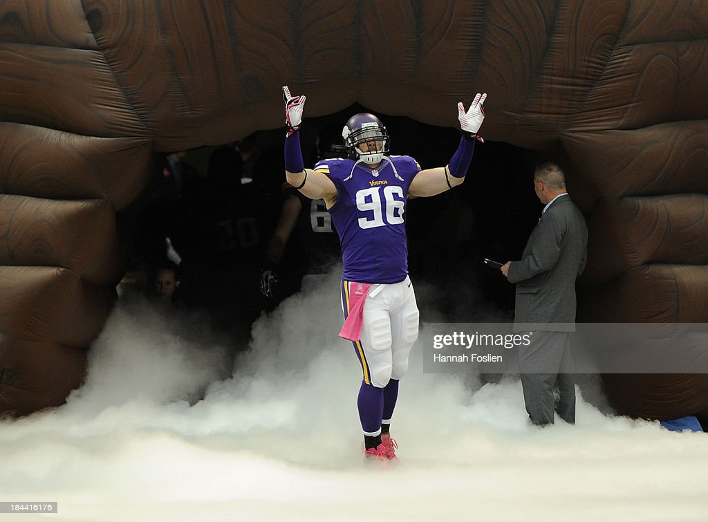 <a gi-track='captionPersonalityLinkClicked' href=/galleries/search?phrase=Brian+Robison&family=editorial&specificpeople=2107306 ng-click='$event.stopPropagation()'>Brian Robison</a> #96 of the Minnesota Vikings runs onto the field before the game against the Carolina Panthers on October 13, 2013 at Mall of America Field at the Hubert H. Humphrey Metrodome in Minneapolis, Minnesota. The Panthers defeated the Vikings 35-10.