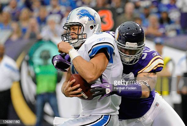 Brian Robison of the Minnesota Vikings sacks Matthew Stafford of the Detroit Lions in the first quarter on September 25 2011 at Hubert H Humphrey...