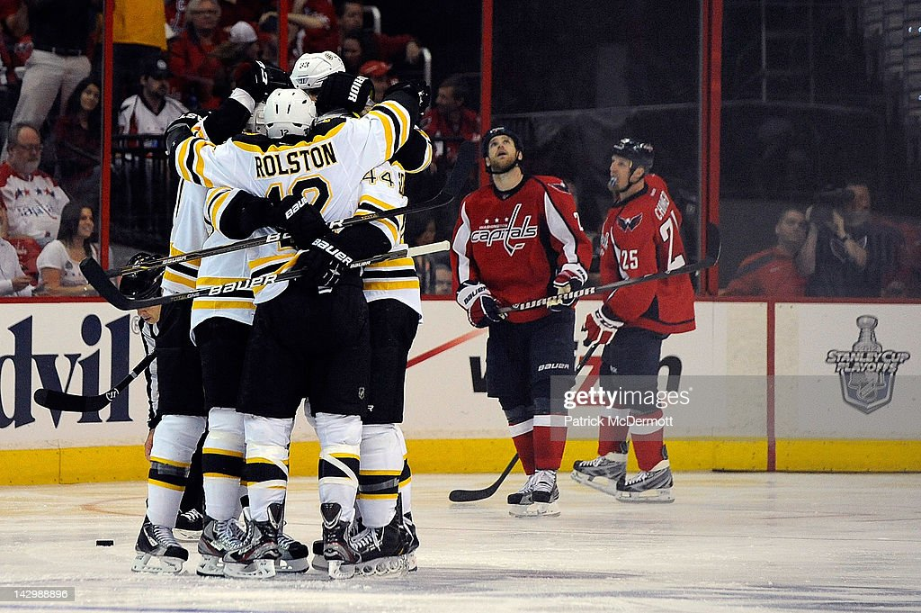 <a gi-track='captionPersonalityLinkClicked' href=/galleries/search?phrase=Brian+Rolston&family=editorial&specificpeople=201464 ng-click='$event.stopPropagation()'>Brian Rolston</a> #12 of the Boston Bruins celebrates after scoring a goal against the Washington Capitals in Game Three of the Eastern Conference Quarterfinals during the 2012 NHL Stanley Cup Playoffs at Verizon Center on April 16, 2012 in Washington, DC.