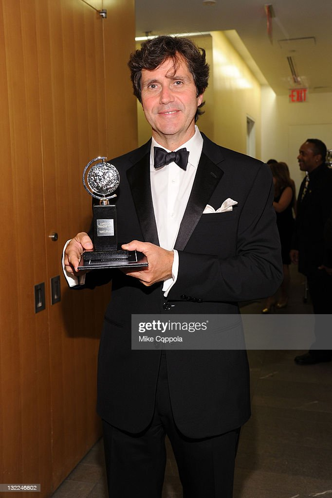 Brian Ronan poses with the award for Best Sound Design of a Musical during the 65th Annual Tony Awards at the The Jewish Community Center in Manhattan on June 12, 2011 in New York City.