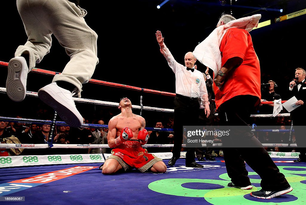 Brian Rose celebrates his vicotyr over Javier Maciel during their Final Eliminator for WBO World Light Middleweight Championship bout at Motorpoint Arena on October 26, 2013 in Sheffield, England.