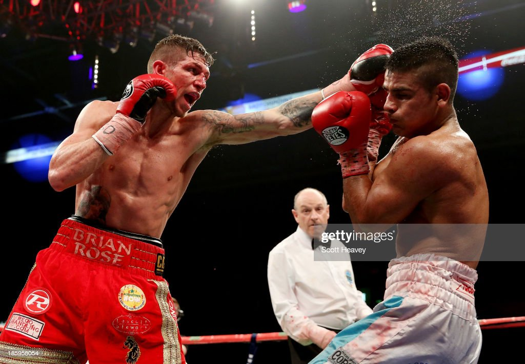 Brian Rose (L) in action with Javier Maciel during their Final Eliminator for WBO World Light Middleweight Championship bout at Motorpoint Arena on October 26, 2013 in Sheffield, England.
