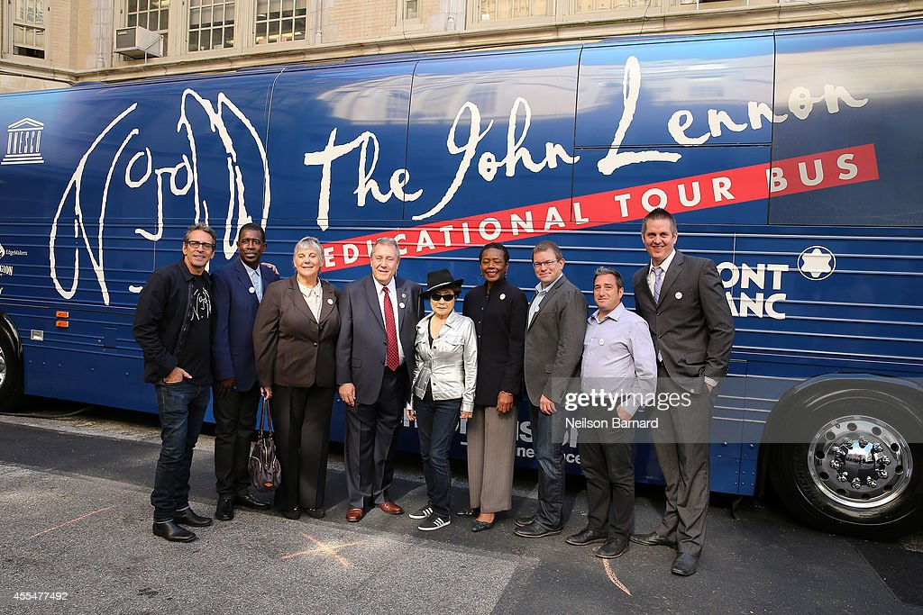 Brian Rothschild, founder, The John Lennon Educational Tour Bus, Mary Luehrsen, Executive Director, NAMM Foundation, musician Yoko Ono, Barbara Murray, Director of Music, NYC Department of Education and Charly Schwartz, Chief Operating Officer, Little Kids Rock attend the John Lennon Educational Tour Bus Event at P.S. 171 Patrick Henry School on September 15, 2014 in New York City.
