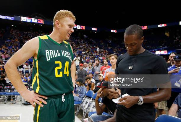 Brian Scalabrine of Ball Hogs meets Rajon Rondo during week seven of the BIG3 three on three basketball league at Rupp Arena on August 6 2017 in...