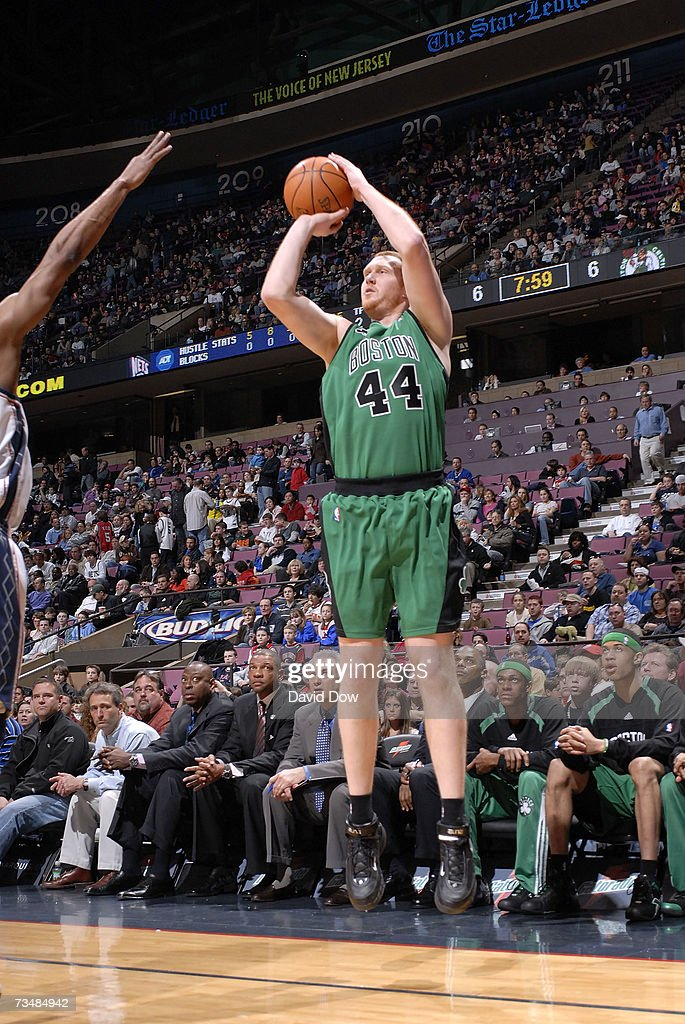 ... Brian Scalabrine 44 of the Boston Celtics shoots against the New Jersey  Nets on March ... 921e96112