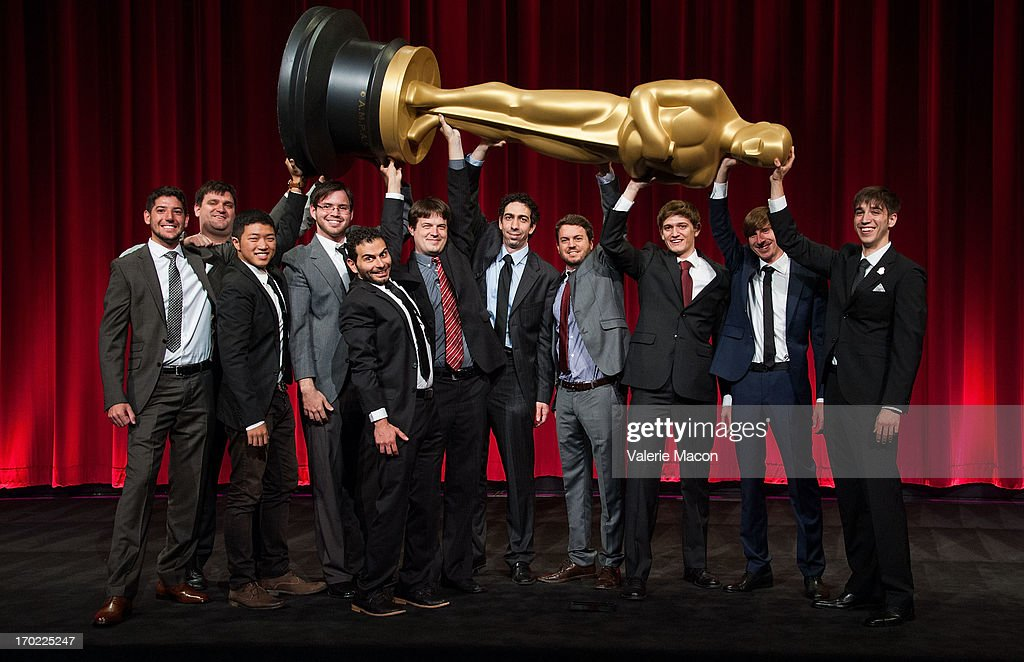 Brian Schwarz, David Aristizabal, Eusong Lee, Lindsey St. Pierre, Ashley Graham, Kristina Yee and Rachel Loube, John Mattiuzzi, Kevin Herron, Jonathan Langager, Perry Janes, Mauro Mueller, Wouter Bouvijn and Rafael Cortina and Daniel Koehler attend The Academy Of Motion Picture Arts And Sciences' 40th Annual Student Academy Awards Ceremony at AMPAS Samuel Goldwyn Theater on June 8, 2013 in Beverly Hills, California.
