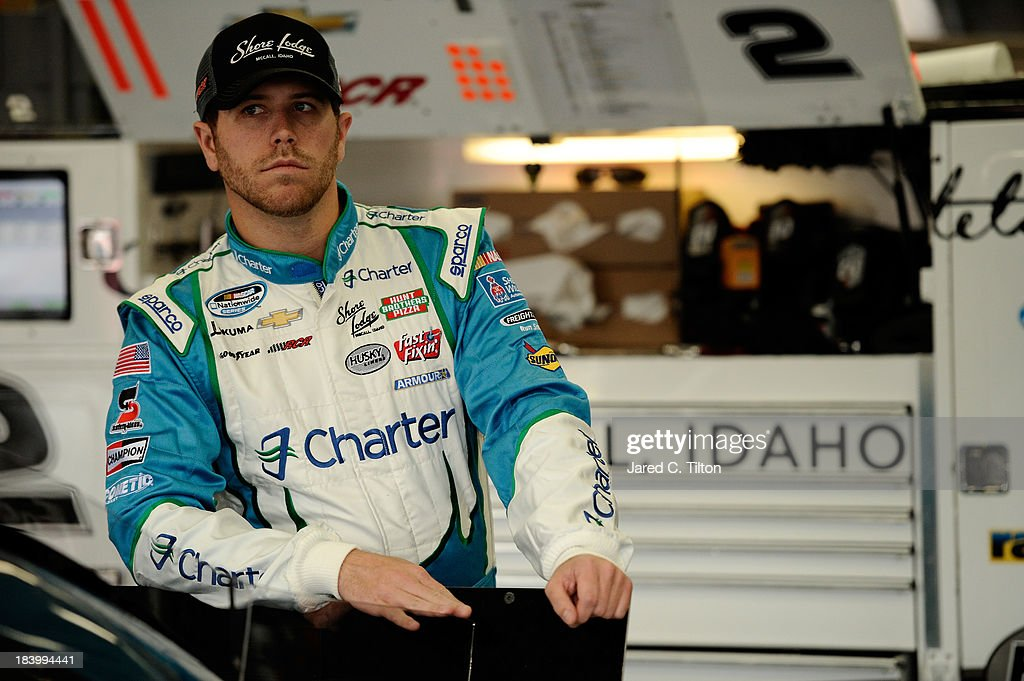 Brian Scott, driver of the #2 Charter Chevrolet, during practice for the NASCAR Nationwide Series Dollar General 300 at Charlotte Motor Speedway on October 10, 2013 in Concord, North Carolina.