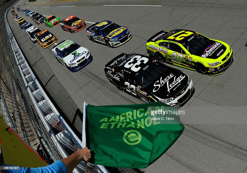 Brian Scott driver of the Shore Lodge Chevrolet and Paul Menard driver of the Richmond / Menard's Chevrolet lead the field to start the NASCAR Sprint...