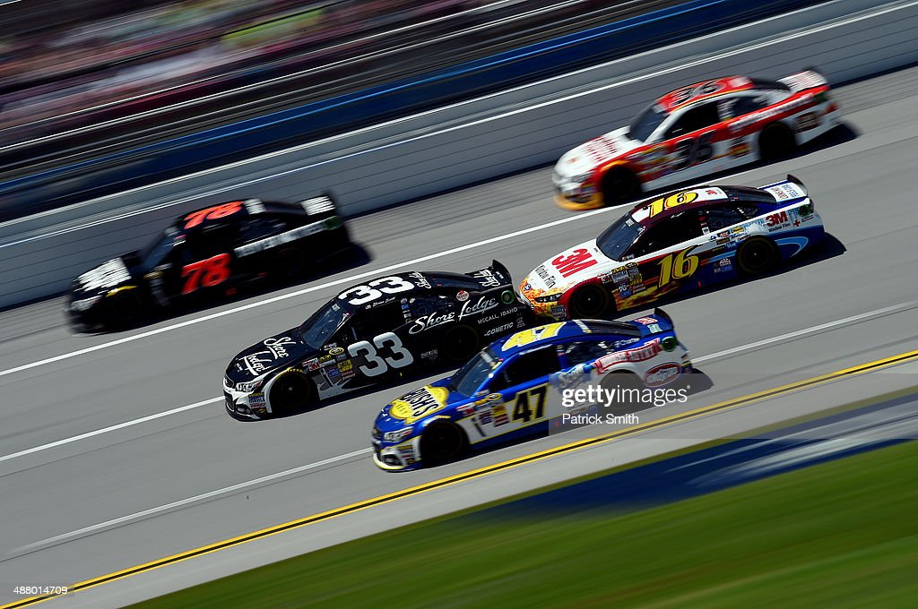 Brian Scott, driver of the #33 Shore Lodge Chevrolet, drives during qualifying for the NASCAR Sprint Cup Series Aaron's 499 at Talladega Superspeedway on May 3, 2014 in Talladega, Alabama.