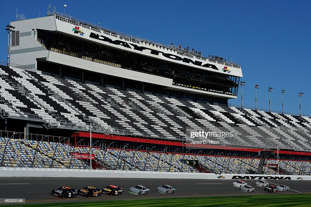 Brian Scott, driver of the #2 Shore Lodge Chevrolet, leads a pack of cars during NASCAR Preseason Thunder at Daytona International Speedway on January 12, 2014 in Daytona Beach, Florida.