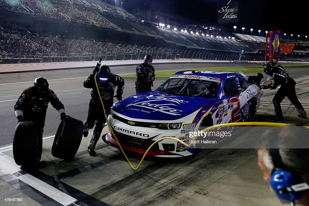 Brian Scott driver of the Shore Lodge Chevrolet pits during the NASCAR XFINITY Series Subway Firecracker 250 Powered By CocaCola at Daytona...
