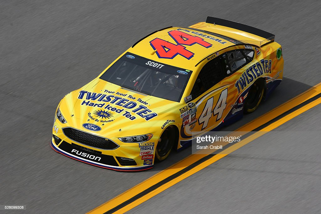 Brian Scott, driver of the #44 Twisted Tea Ford, practices for the NASCAR Sprint Cup Series GEICO 500 at Talladega Superspeedway on April 29, 2016 in Talladega, Alabama.