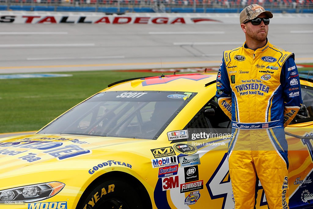 Brian Scott, driver of the #44 Twisted Tea Ford, stands on the grid during qualifying for the NASCAR Sprint Cup Series GEICO 500 at Talladega Superspeedway on April 30, 2016 in Talladega, Alabama.