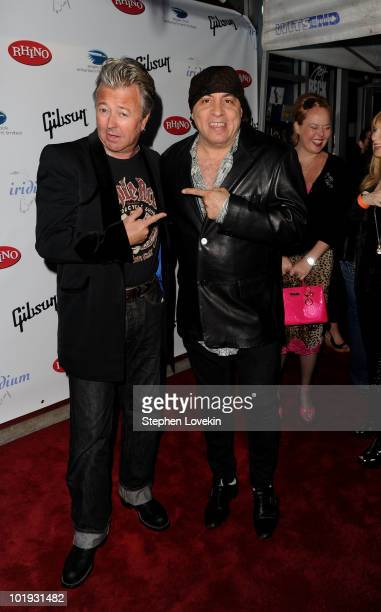 Brian Setzer and Steven Van Zandt attend the after party for Les Paul's 95th Birthday with Special Intimate Performance at Iridium Jazz Club on June...