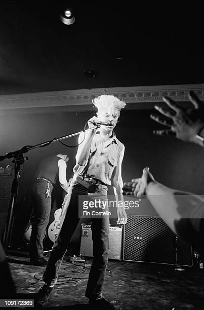 Brian Setzer from The Stray Cats performs live on stage at the Cedar Club in Birmingham England in December 1980
