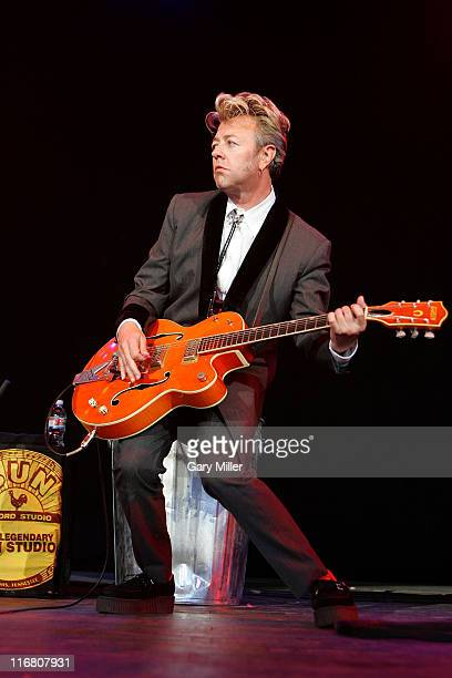 Brian Setzer of The Stray Cats performs at the Verizon Wireless Amphitheater on August 05 2007 in San Antonio Texas