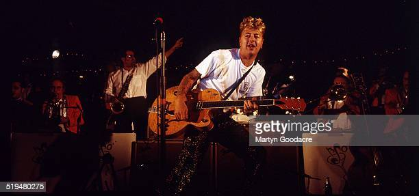 Brian Setzer performs on stage with The Brian Setzer Orchestra Hollywood United States 1997