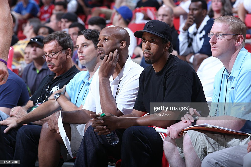 Brian Shaw, Head Coach, and Andre Miller of the Denver Nuggets look on during the game against the Chicago Bulls during NBA Summer League on July 15, 2013 at the Thomas & Mack Center in Las Vegas, Nevada.