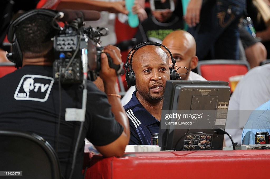 Brian Shaw, Head Coach of the Denver Nuggets, is interviewed after the game against the Milwaukee Bucks during NBA Summer League on July 13, 2013 at the Cox Pavilion in Las Vegas, Nevada.