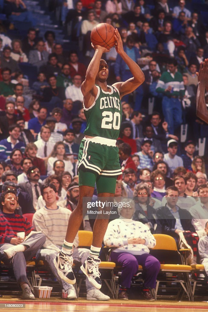 Brian Shaw of the Boston Celtics takes a jump shot during a basketball game against the Washington Bullets at Capital Centre on January 31 1989 in...
