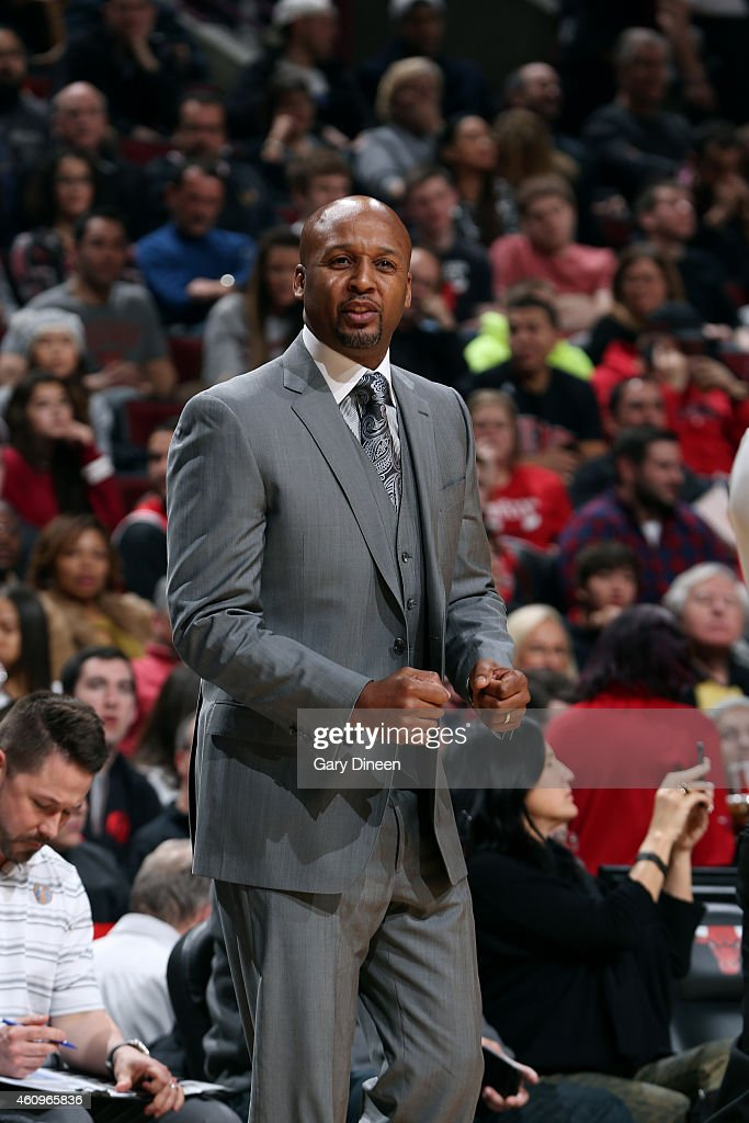 Brian Shaw of the Denver Nuggets celebrates during a game against the Chicago Bulls on January 1 2015 at the United Center in Chicago Illinois NOTE...