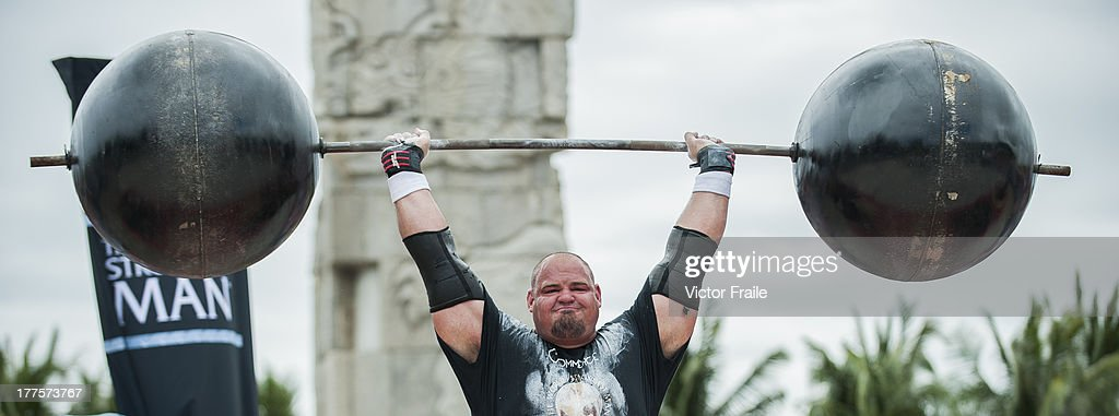 Brian Shaw of USA competes at the Circus Medley event during the World's Strongest Man competition at Yalong Bay Cultural Square on August 24, 2013 in Hainan Island, China.