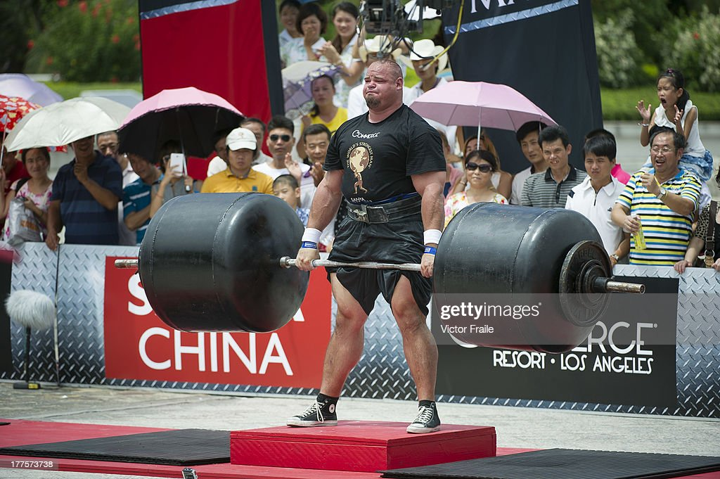 Brian Shaw of USA competes at the Deadlift for Max event during the World's Strongest Man competition at Yalong Bay Cultural Square on August 24, 2013 in Hainan Island, China.