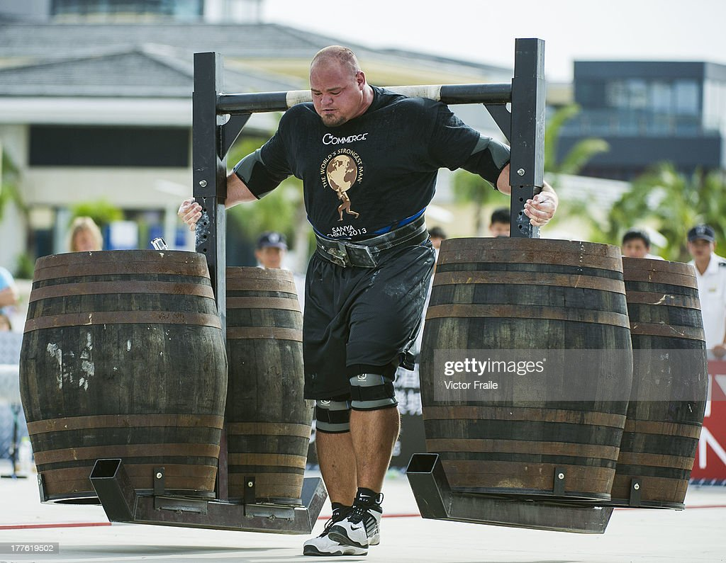 Brian Shaw of USA competes at the Super Yoke event during the World's Strongest Man competition at Serenity Marina on August 23, 2013 in Hainan Island, China.