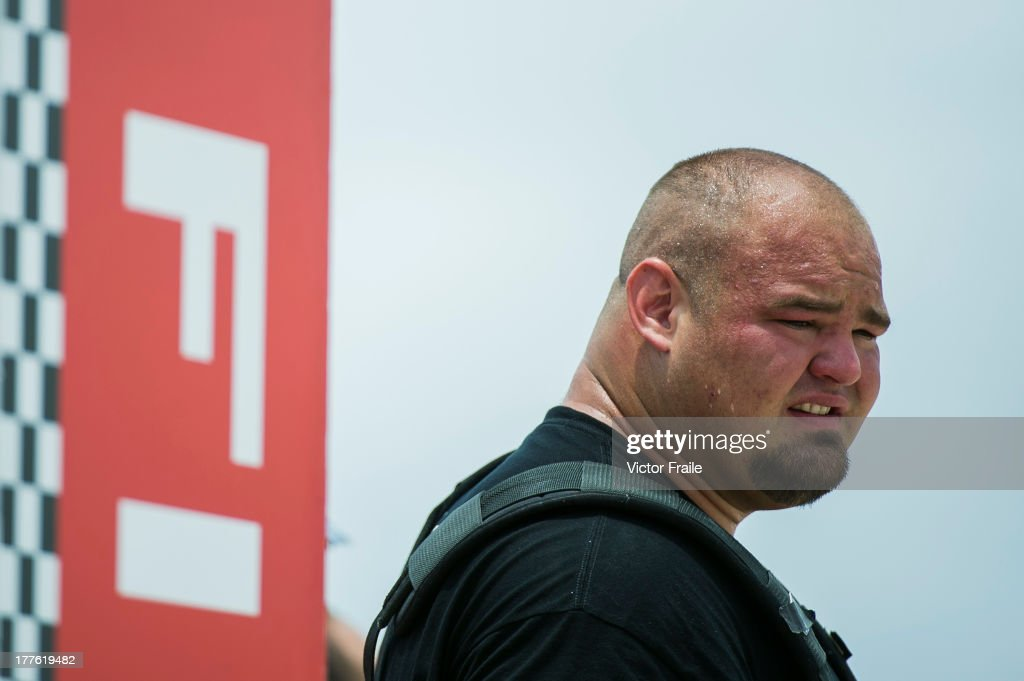 Brian Shaw of USA competes at the Truck Pull event during the World's Strongest Man competition at Serenity Marina on August 23, 2013 in Hainan Island, China.