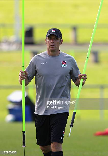 Brian Smith the England attack coach looks on during an England IRB Rugby World Cup 2011 training session at Onewa Domain on October 4 2011 in...