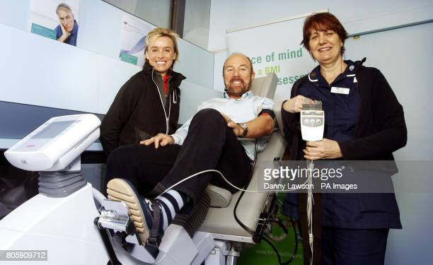 Brian Souter Chief Executive of Stagecoach with Athlete Liz McColgan and Cardio Technician Diane Sage on board a new 'Healthy Heart Bus' in George...