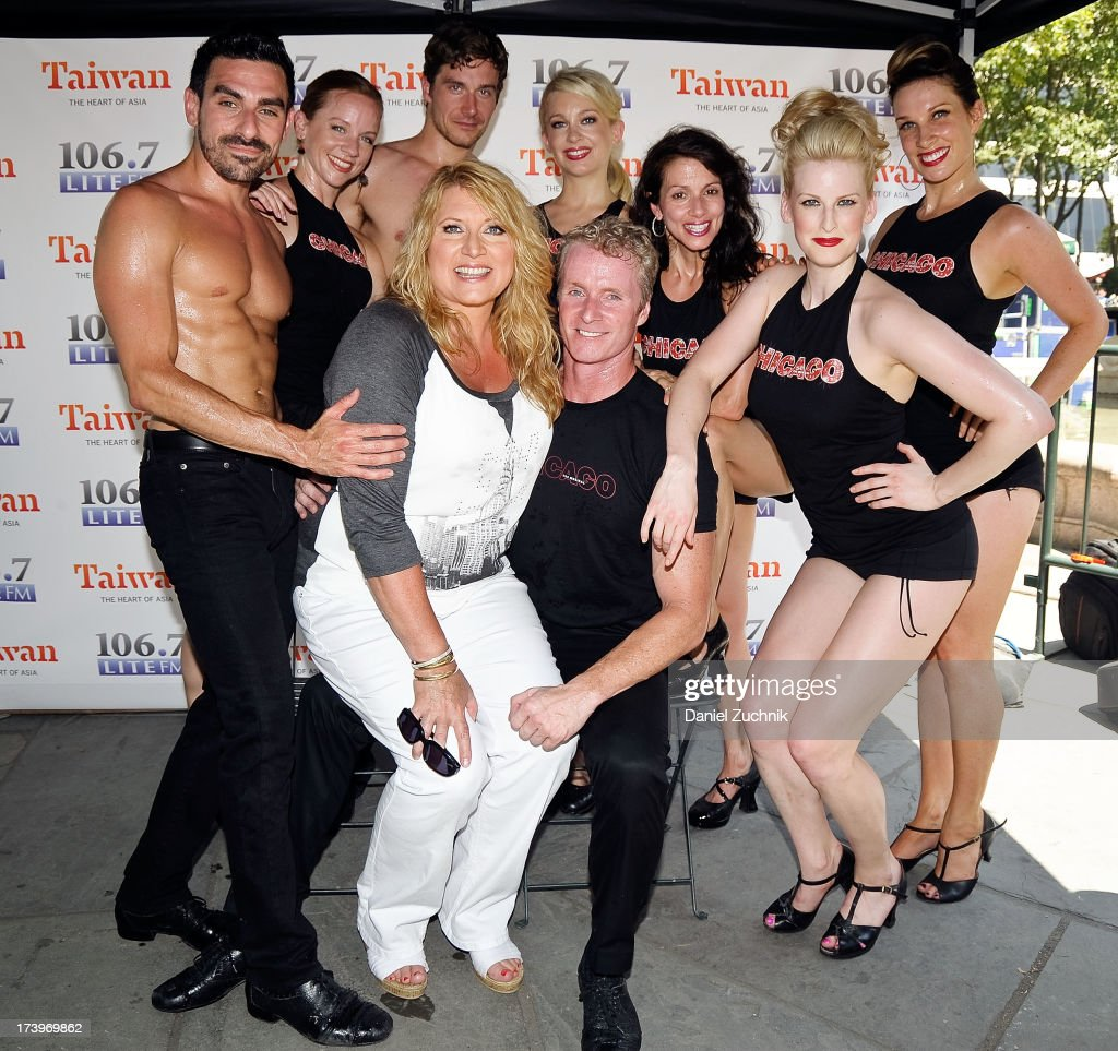 Brian Spitulnik, Tanya Wathen, Nathan Madden, Anne Horak, Donna Marie Ashbury, Rachel Bickerton, Angel Reda, Delilah and Brian O'Brien from 'Chicago' attend 106.7 LITE FM's Broadway in Bryant Park 2013 at Bryant Park on July 18, 2013 in New York City.
