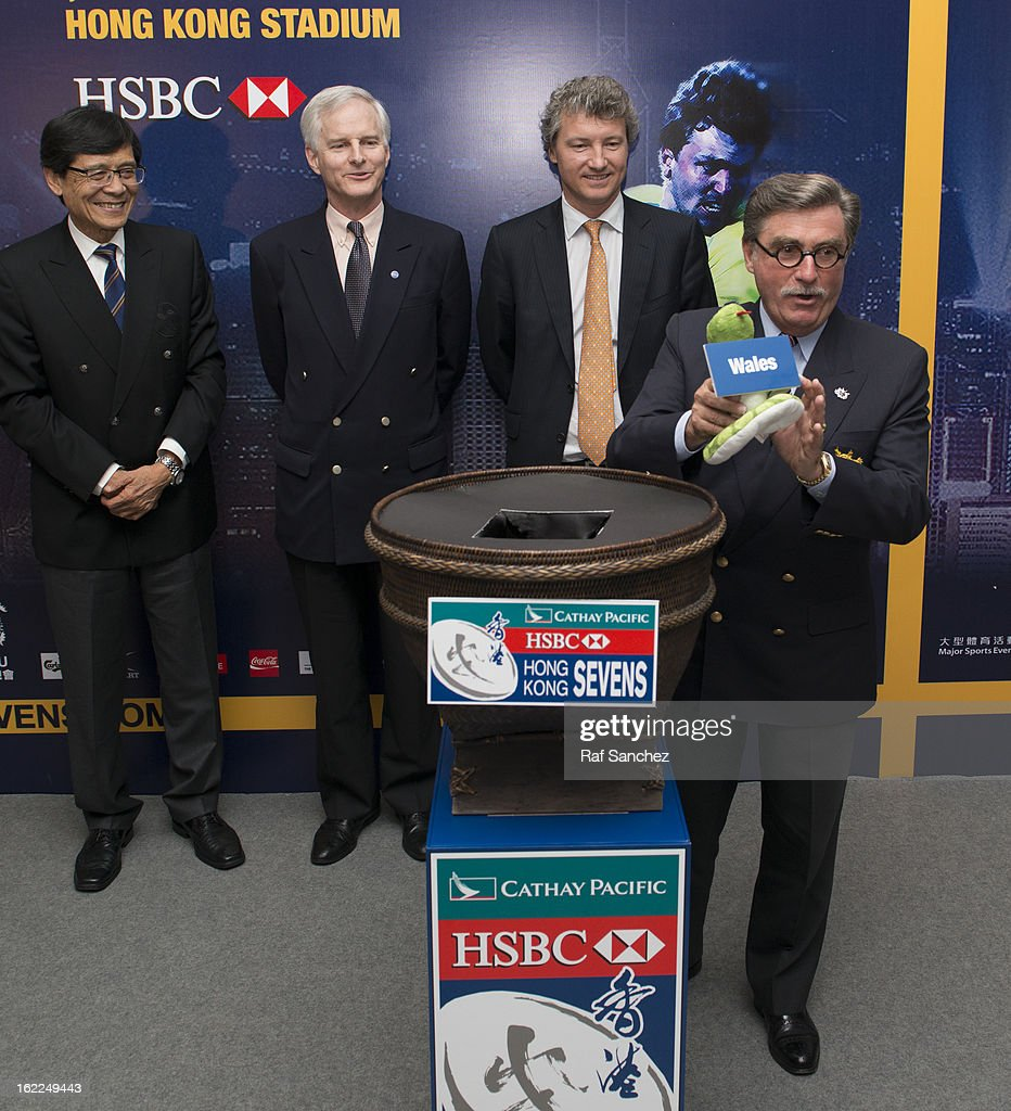Brian Stevenson, President of the Hong Kong Rugby Football Union selects a team during the Cathay Pacific/HSBC Hong Kong Sevens 2013 Official Draw held at Hysan Place, on February 21, 2013 in Hong Kong.