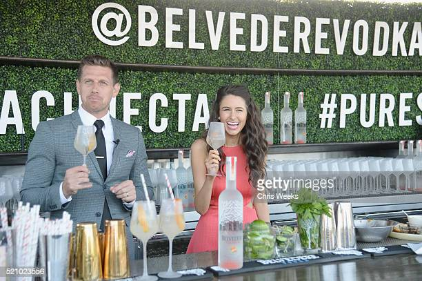 Brian Stewart and chef Chloe Coscarelli attend Belvedere Vodka Chloe Coscarelli Peach Nectar Garden Party at EP LP on April 13 2016 in West Hollywood...
